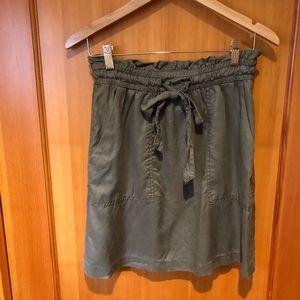 Tie-front green cargo skirt